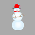 Snowman in bright hat on a gray