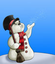 Snowman with broom Stock Images