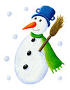 Snowman with broom Royalty Free Stock Photo