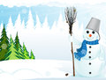 Snowman with broom and bucket Royalty Free Stock Photo