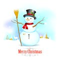Snowman with broom in christmas background illustration of Stock Images