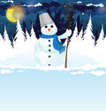 Snowman with a broom in the woods snowy winter night scene Royalty Free Stock Photo
