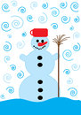 Snowman with brown broom and twisted snowflakes Royalty Free Stock Images