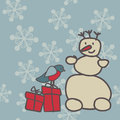 Snowman and bullfinch with gifts on snowflakes background Royalty Free Stock Photography