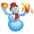 Snowman with cake and gift Stock Photo