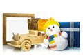 Snowman with car, gift boxes and frame Royalty Free Stock Photo