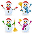 Snowman cartoon christmas set collection of four characters isolated on white background eps file available Royalty Free Stock Photo