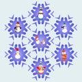 Snowman cartoons icons set vector pattern christmas elements illustration Stock Photos