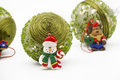 Snowman and christmas ball green ornamental balls horizontal photography Stock Photo