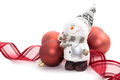 Snowman and Christmas balls Royalty Free Stock Photo