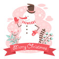 Snowman christmas congratulation postcard cheerful Stock Images