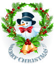 Snowman and Christmas garland Royalty Free Stock Photos