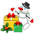 Snowman and christmas gifts cartoon two decorated presents Royalty Free Stock Photo