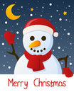 Snowman christmas greeting card merry with a funny smiling and with snow and stars in the blue sky eps file available Royalty Free Stock Image