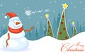 Snowman in christmas night easy to edit vector illustration of Stock Photography
