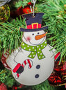 Snowman Christmas ornament tree, detail, close up Royalty Free Stock Photo
