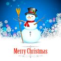 Snowman in christmas snowflakes background illustration of with broom Stock Image