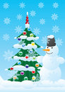 Snowman and Christmas spruce Royalty Free Stock Photography