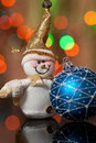 Snowman and Christmas toy Royalty Free Stock Images