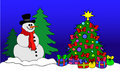 Snowman with Christmas Tree Royalty Free Stock Photo