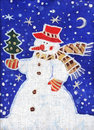 Snowman with a Christmas tree Royalty Free Stock Photos
