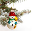Snowman on christmas tree hanging Stock Images