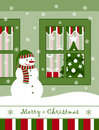 Snowman and christmas window Stock Photo