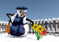 Snowman cleaning some flowers to prepare spring Stock Photos