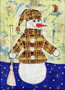 Snowman in a coat Royalty Free Stock Images