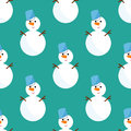 Snowman cold christmas season winter seamless pattern man in hat character xmas background holiday card vector Royalty Free Stock Photo