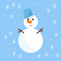 Snowman cold christmas season winter white man in hat character xmas background holiday card vector illustration Royalty Free Stock Photo