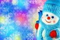 Snowman on a colorful abstract background with snowflakes Royalty Free Stock Photography