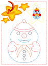 Snowman coloring Royalty Free Stock Photography