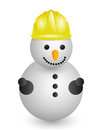 Snowman with construction helmet illustration design over white Royalty Free Stock Photography