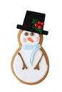 Snowman cookie isolated on white Royalty Free Stock Image