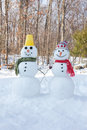 Snowman couple Royalty Free Stock Photography