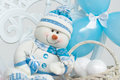 Snowman decoration with blue balloons Stock Photography