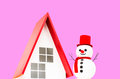 Snowman doll in christmas on pink background Royalty Free Stock Photography