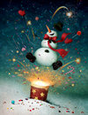 Snowman emitted from firecrackers Royalty Free Stock Photography