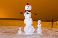 Snowman family at night Stock Photos