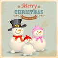 Snowman family in retro christmas background illustration of Royalty Free Stock Images