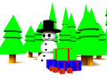 Snowman In Forest Royalty Free Stock Image