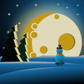 Snowman in the forest at night Royalty Free Stock Photo