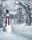 Snowman in the forest white winter Royalty Free Stock Image