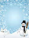 Snowman with Frame Composed of Snowflakes Royalty Free Stock Photography
