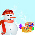Snowman and gift vector Royalty Free Stock Photography