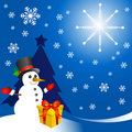 Snowman with gift vector Stock Image