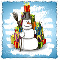 Snowman with gifts illustration on blue background Royalty Free Stock Photos