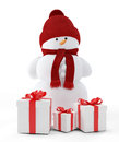 Snowman and gifts isolated on a white background Royalty Free Stock Photos