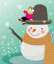 Snowman and girl Royalty Free Stock Images